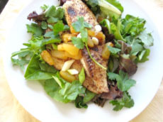 Caribbean Fish with Baby Garden Greens.??Copyright 2010 Linda Weiss.
